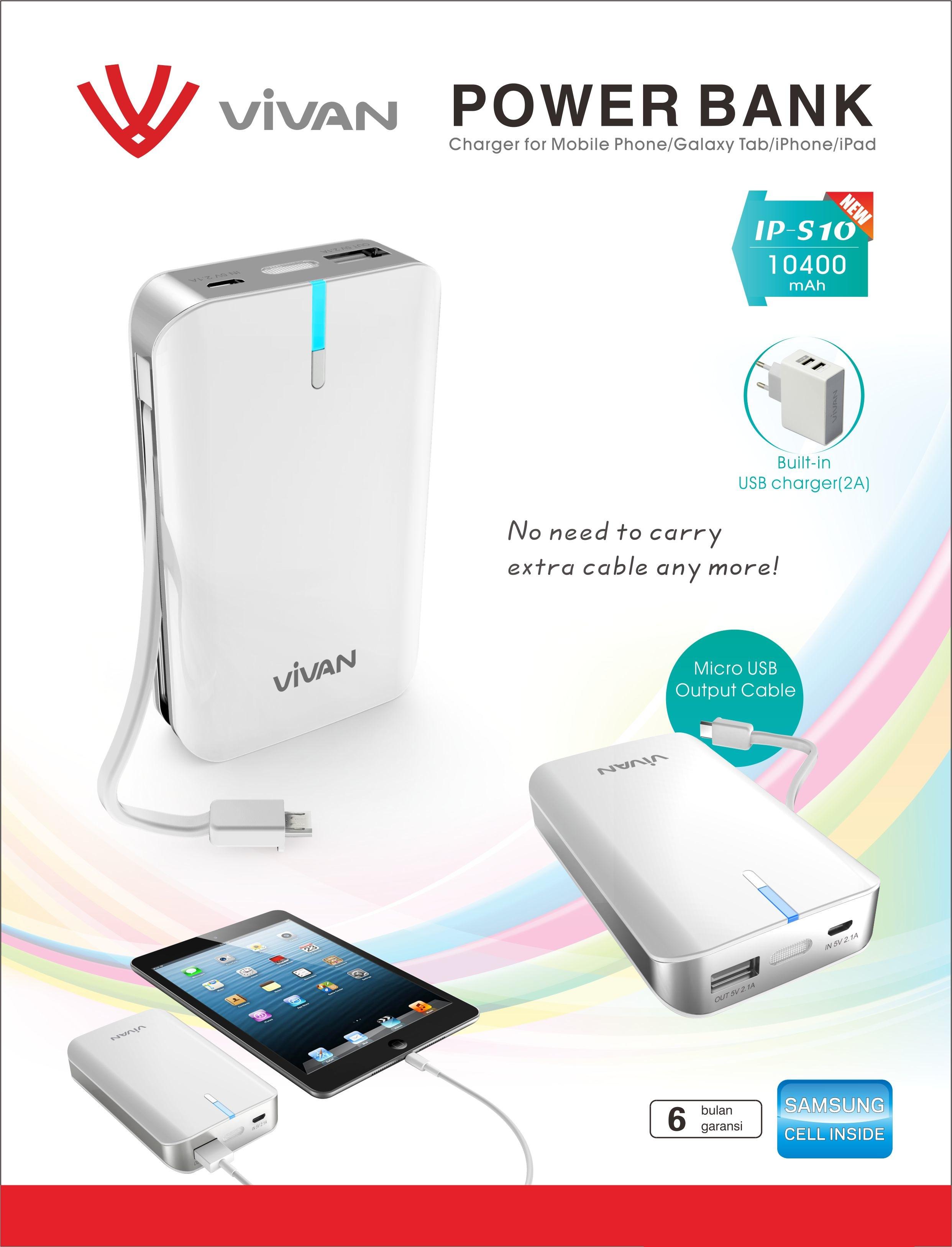 Vivan Powerbank Ips10 10400mah Dual Output Built In Cable Kabel Power Bank Nempel