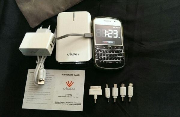 ViVAN Powerbank IPS10 10400mah Dual Output Built In Cable Kabel Nempel